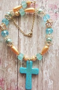 Jewelry - Western Turquoise Cross & Crystals Necklace